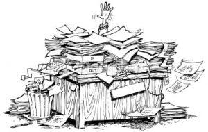 overworked attorney at desk