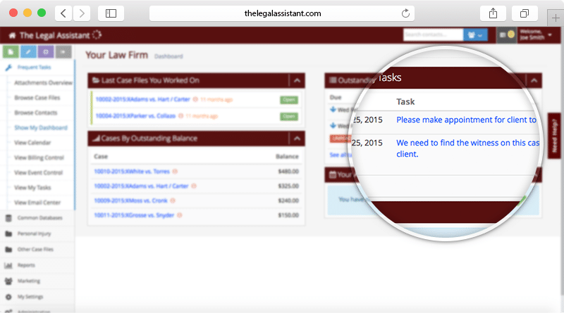 Screenshot of The Legal Assistant software showing Task Management for paralegals
