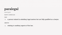 What is a paralegal dictionary definition