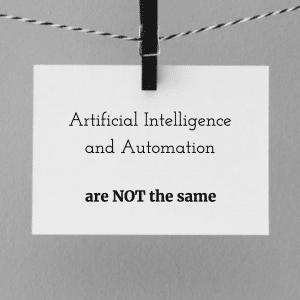 artificial intelligence and automation are not the same illustration